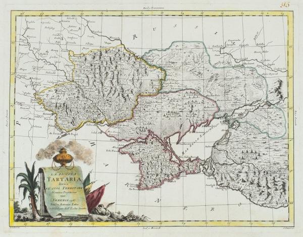 Карта Черного моря иКрыма картографа Антонио Затта. [LaPiccola Tartaria]. Венеция, 1783.