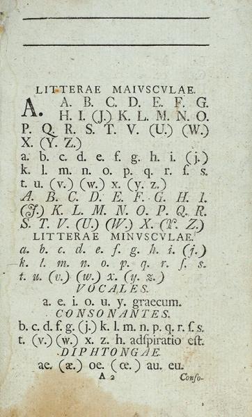 [«Пожалуй, господин учитель, дай мне позволения выйти вон»] Латинский алфавит исловарь, состоящий изнаиболее употребительных слов; сприсовокуплением диалогов, выбранных излучших авторов (...). [Alphabetum latinum vocum usitatiorum vocabulario, dialogus familiaribus]. [Нарус. илат.яз.] М.: ВУниверситетской тип. уН.Новикова, 1788.