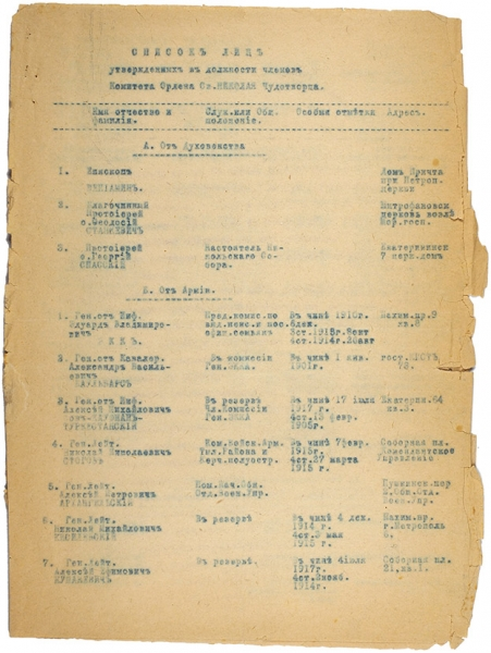 Список лиц утвержденных вдолжности членов Комитета Ордена Святителя Николая Чудотворца. [1920].