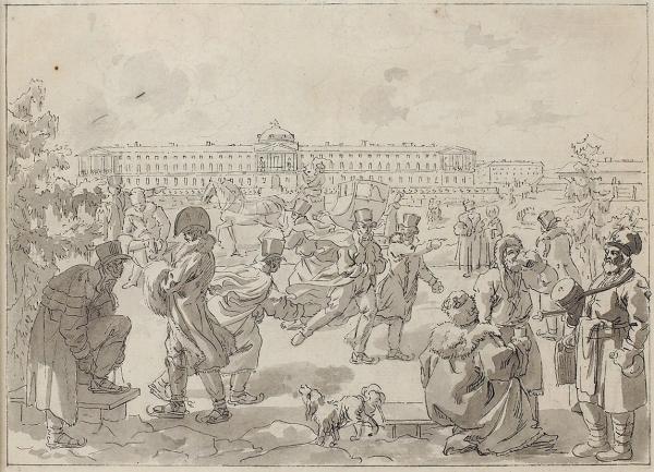 Корнеев (Карнеев) Емельян Михайлович (1780 (?)—1839) «Катание наконьках». 1800–1801. Бумага, графитный карандаш, тушь, перо, 22x29,2см.