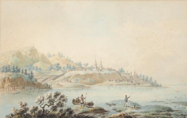 Корнеев (Карнеев) Емельян Михайлович (1780 (?)—1839) «Вид города Березова». 1802. Бумага, акварель, графитный карандаш, 19,5×30, 3см.