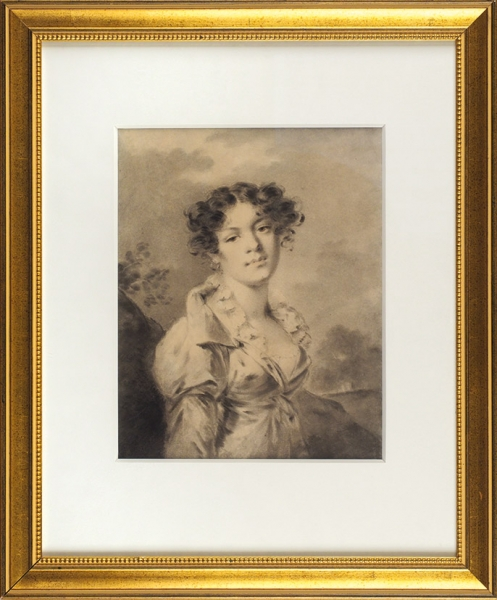 Молинари (Molinari) Александр (1722–1836) «Женский портрет». Конец 1800-х—первая половина 1810-х. Бумага набумаге, акварель, кисть, сангина, 30,7×24,2см.