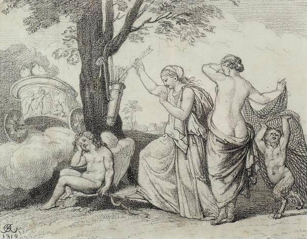 Кипренский Орест Адамович (1782–1836) «Мифологическая сцена». 1819. Бумага, графитный карандаш, 17,3×22,3см (всвету).