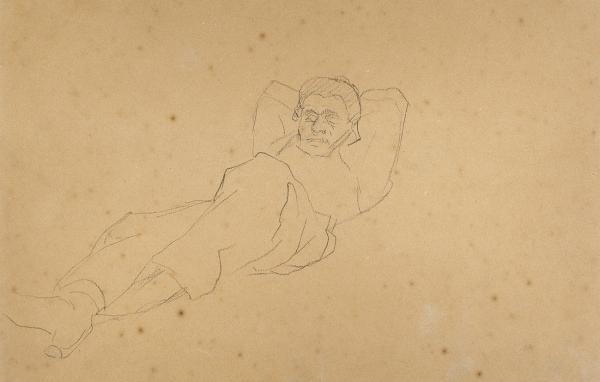 Репин Илья Ефимович (1844–1930) «Ангел». Наобороте набросок мужской фигуры.1868. Бумага, графитный карандаш, 28,8×18,5см.