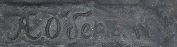 Фигура «Киргиз налошади». Россия, Каслинский завод художественного литья, автор модели А.Р. Обер, модель 1872года, формовщик Г.Самойлин. Отливка 1870-1880годов. Чугун, литье, сажа. Высота38,5см. Вес7,3кг.
