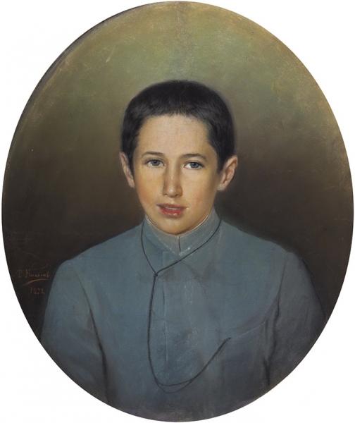 Никонов Тит «Портрет мальчика». 1898. Бумага, пастель, 67×47см (овал).