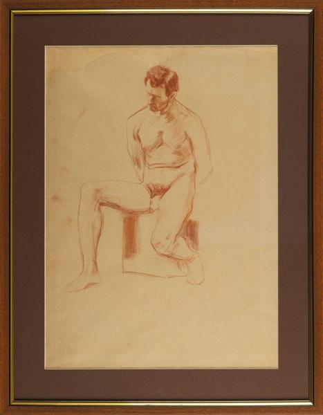 Малявин Филипп Андреевич (1869–1940) «Сидящий обнаженный натурщик». 1890-е. Бумага, сангина, 43,3×32,7см.