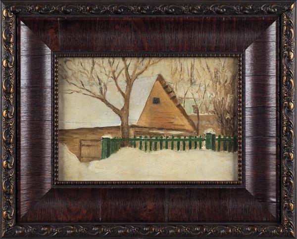 Столица Евгений Иванович (1870–1929) «Усадьба зимой». 1890-е— 1900-е. Холст, масло, 17,7x25см.