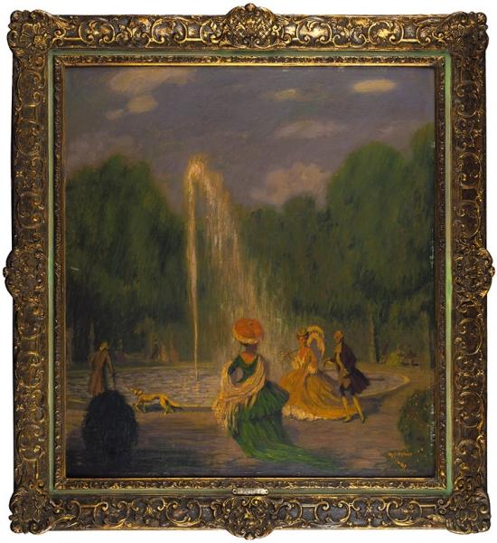 Pellar Hanns (1886-1971) «Галантная сцена». Начало ХХвека. Картон, масло, 61x55см (всвету).