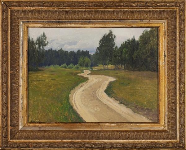 Гермашев Михаил Маркианович (1867–1930) «Летний пейзаж сдорогой». 1900-е. Холст, масло, 29x41см.