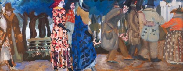 Григорьев Борис Дмитриевич (1886–1937) «Сад». Эскиз для стенописи кафе. Начало 1913года. Картон, темпера, 39,9x98,3см.