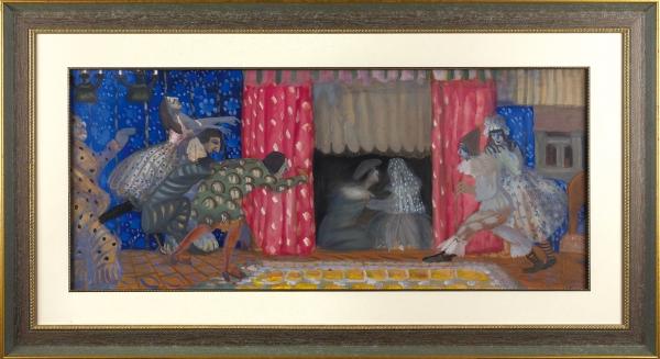 Григорьев Борис Дмитриевич (1886–1939) «Свадьба Пьеро». Эскиз для театра. Начало 1913года. Картон, темпера, 42,3×97,5см.