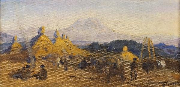Поленов Василий Дмитриевич (1844–1927) «Пейзаж». 1910-е. Холст накартоне, 13,2×25,4см.