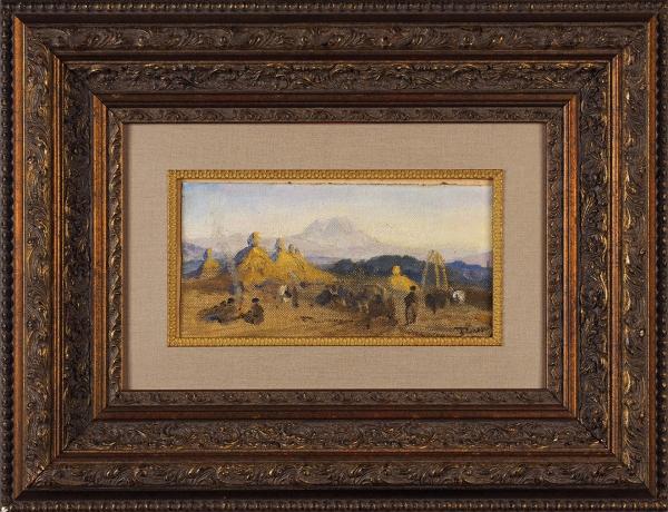 Поленов Василий Дмитриевич (1844–1927) «Пейзаж». 1910-е. Холст накартоне, 13,2x25,4см.