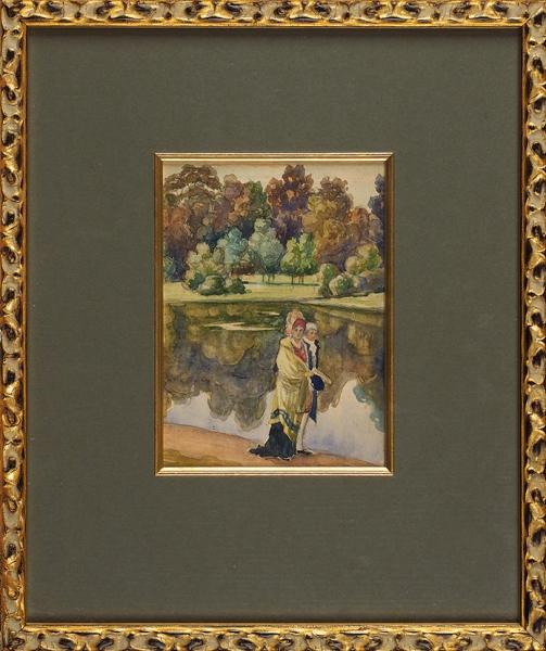 Арапов Анатолий Афанасьевич (1876–1949) «Прогулка впарке». 1910-е. Бумага набумаге, графитный карандаш, акварель, 16×11,4см.