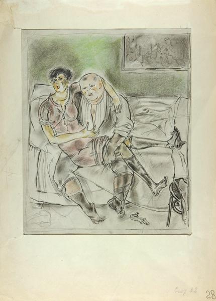 Гольц Георгий Павлович (1893–1946) «Жанровая сцена». 1920-е. Бумага, графитный ицветные карандаши, 30,5x25см.