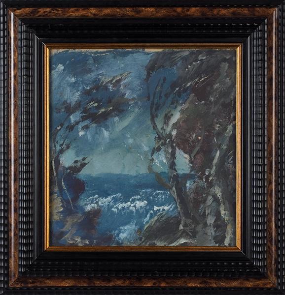 Яковлев Александр Евгеньевич (1887–1938) «Берег моря». Конец 1920-х. Бумага накартоне, темпера, 27x25,6см.