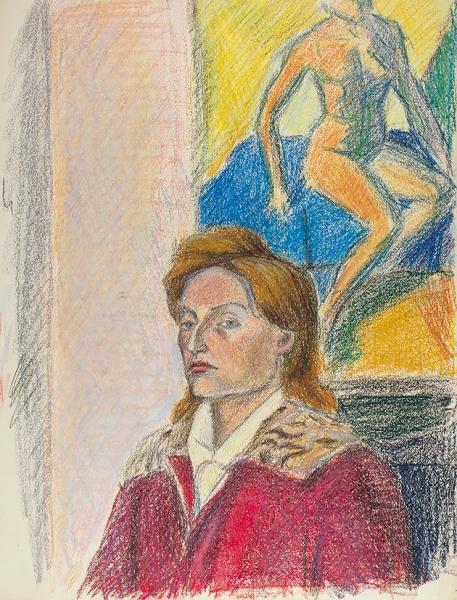 Бургункер Евгений Осипович (1906–1966) «Женский портрет». 1934. Бумага, масляная пастель, 44×33см.