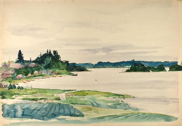 Тарханов Михаил Михайлович (1888–1962) «Селигер». 1936. Бумага, графитный карандаш, акварель, 30,5×43,5см.
