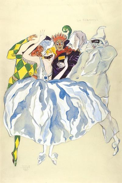Иванов Сергей Петрович (1893–1983) «Карнавал». 1937. Бумага, графитный карандаш, акварель, белила, гуашь, 45×30см (всвету).