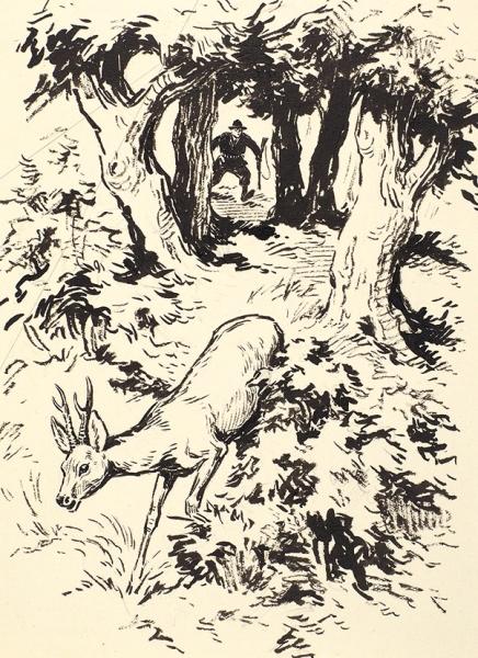 Никольский Георгий Евлампиевич (1906-1973) «Охота наоленя». 1930-е— 1940-е. Бумага, тушь, перо, белила, 18×15,4см.