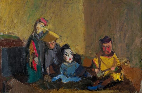 Федотов Владимир Владимирович (1905-1975) «Куклы». 1946. Холст, масло, 50×75,7см.