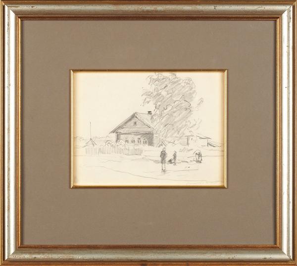 Соколов Николай Александрович (1903–2000) «Вдеревне». 1940-е. Бумага, графитный карандаш, 15×21см.