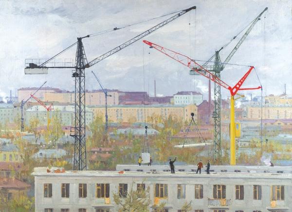 Вялов Константин Александрович (1900–1976) «Город строится. Масловка». 1950-е. Холст, масло, 67×92см.
