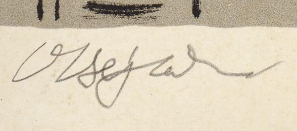 Верейский Орест Георгиевич (1915–1993) «Натеррасе». Наобороте «Натюрморт». Двусторонний оттиск (пробный, сдвух досок). 1950-е. Бумага, автолитография, 45,5×40см.