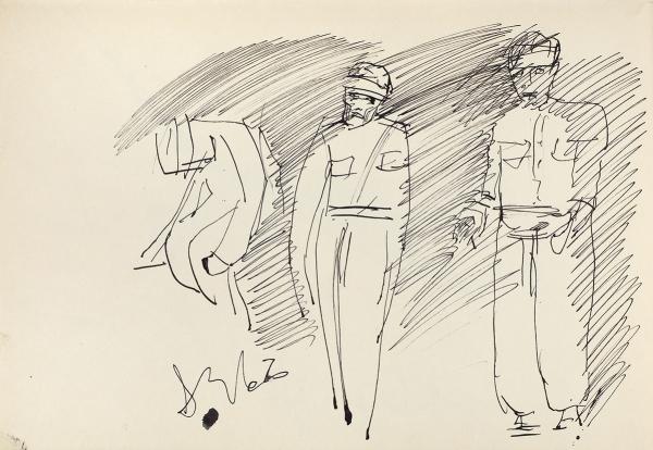Зверев Анатолий Тимофеевич (1931–1986) «Три фигуры». 1962. Бумага, тушь, перо, 21×30,3см.