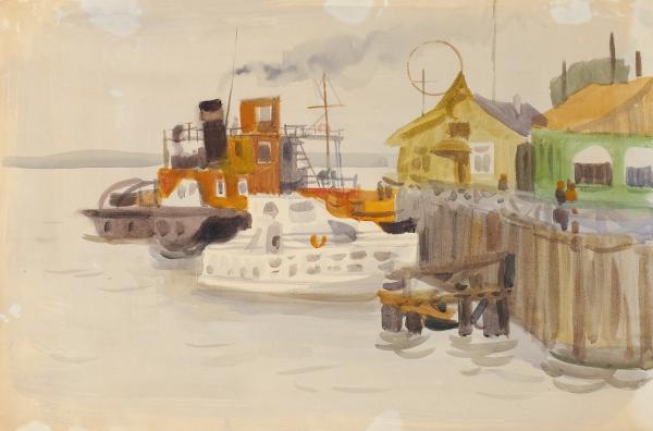 Монин Евгений Григорьевич (1931–2002) «Красноярск». 1963-1964. Бумага, акварель, 39,8×59,5см.