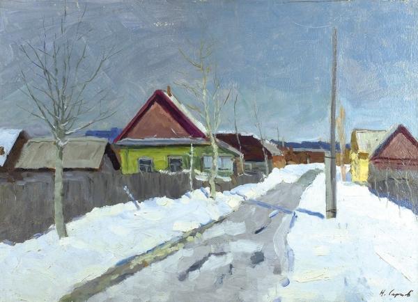Сергеев Николай Сергеевич (1908–1989) «Март». 1975. Картон, масло, 50×70см.