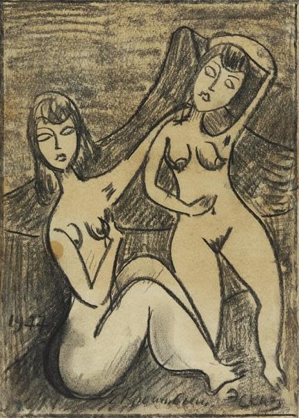 Кропивницкий Евгений Леонидович (1893–1979) «Девушки». Эскиз.1977. Бумага, пастель, 28×20,3см.
