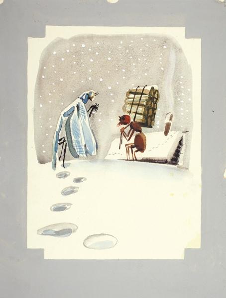 Скобелев Михаил Александрович (1930–2006) «Стрекоза имуравей». Иллюстрация к«Басням» И.А. Крылова.1979. Бумага, гуашь, 27,8×21см.
