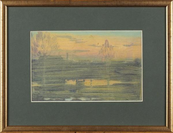 Вечтомов Николай Евгеньевич (1923–2007) «Пейзаж». 1970-е. Картон, масло, 13×20,5см (всвету).