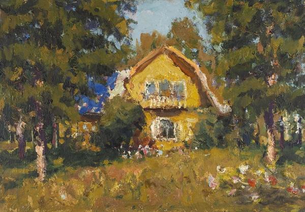 Волков Юрий Александрович (1919–1990) «Летний день». 1986. Картон, масло, 25×35см.