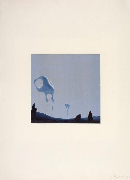 Миронов Геннадий Сергеевич (род.1961) «Пустыня». 1989. Картон, масло, 9,5×9,5см.