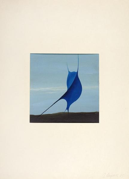 Миронов Геннадий Сергеевич (род.1961) «Скат». 1989. Картон, масло, 9,5×9,5см.