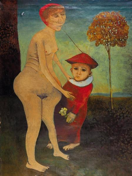 Петкевич Юрий Анатольевич (род.1962) «Венера имальчик вкрасном». 1990-е. Холст, масло, 105×80см.