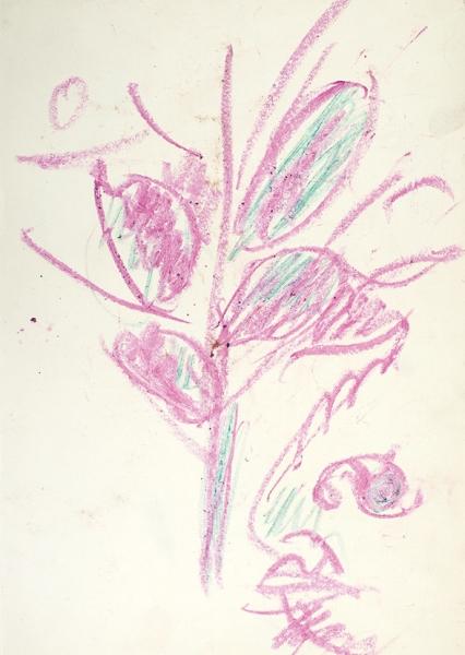 Яковлев Владимир Игоревич (1934–1998) «Розовое дерево». 1990-е. Бумага, масляная пастель, 31,2x21,8см.