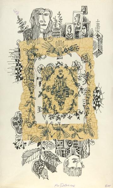 Измайлов Евгений Аскерович (род.1939) «Раздвоение». 2001. Бумага, смешанная техника, коллаж, 42×25,3см.