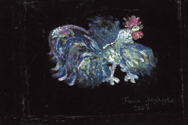 Медведева Катя (род.1937) «Петушок». 2007. Бархат, смешанная техника, 68×98см.