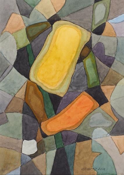 Снегур Игорь Григорьевич (род.1935) «Композиция 2014». 2014. Бумага, акварель, 34×24см.