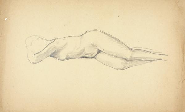 Пахомов Алексей Фёдорович (1900–1973) «Лежащая обнаженная». 1930-е. Бумага, графитный карандаш, 21×34,9см.