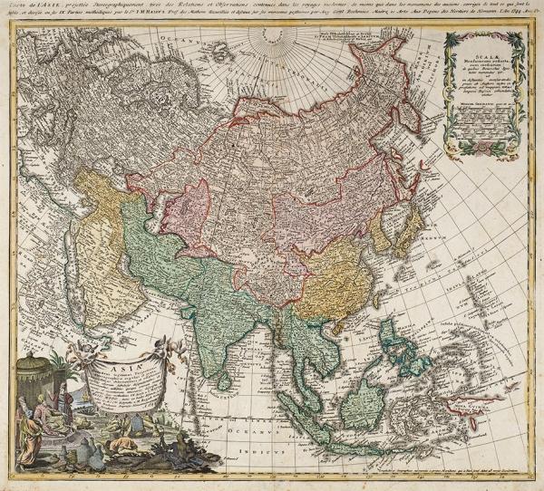 Карта Азии/ карт. И.М. Хасиус, А.Г. Бёме. [Asia Secundum legitimas Projectionis (...)] Нюрнберг, сер. XVIIIв.