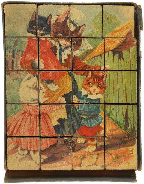Набор детских кубиков «Веселые котята». 3-е изд. М.: Издательство «Труд итворчество», 1941.