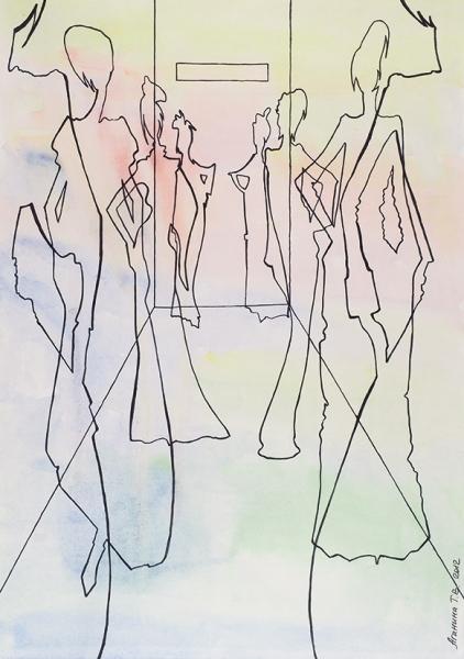 Аганина Татьяна. «Дефиле». 2012. Бумага, тушь, акварель.29,5×42см.