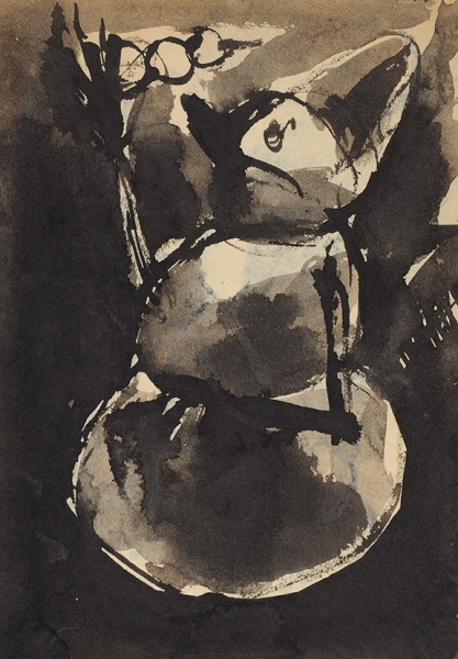 Батынков Константин. «Дейнека. Футболисты». Наобороте «Верещагин. Богатый киргизский охотник ссоколом». Бумага, тушь.29,4×20,5см.