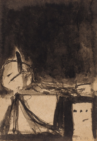 Батынков Константин. «Смерть Марата» (Вариант2). Лист изсерии «Забытые рисунки мастеров». 2001. Бумага, тушь.29,5x20,5см.