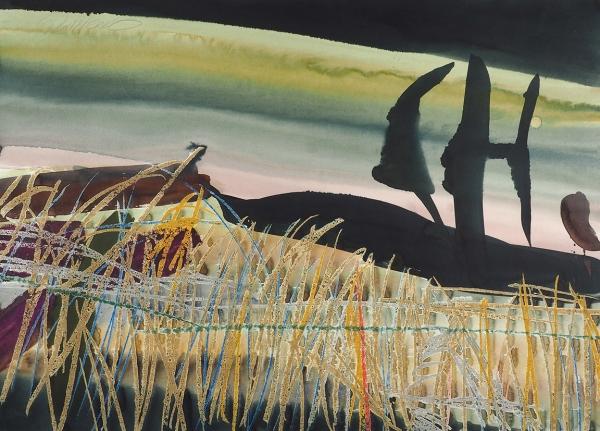 Демченко Даниил. «Ветер». 1998. Бумага, смешанная техника. 43×60см. Впаспарту.